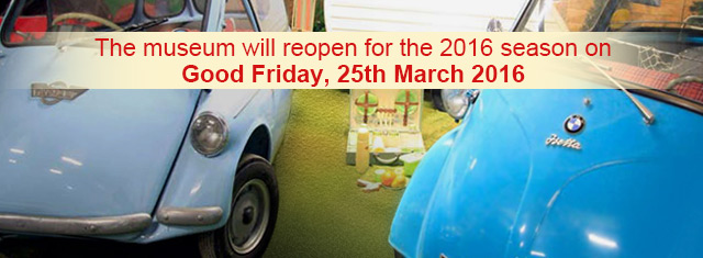 The Bubblecar Museum will open for the 2016 season on Good Friday, 25th March 2016.
